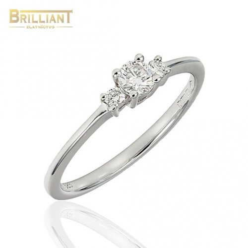 Briliantový Zlatý prsteň Au585/000 14k 1ks 0,17ct.2ks 0,07ct