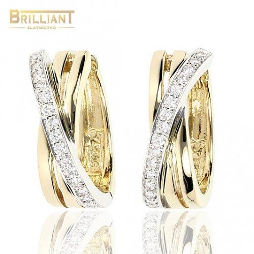 Diamantové Zlaté 14k Náušnice Au585/000 s 32diam. 0,19ct