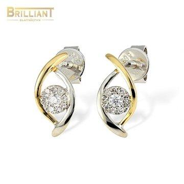 Diamantové Zlaté náušnice Au585/000 14k 20diamnt. 0,10ct.