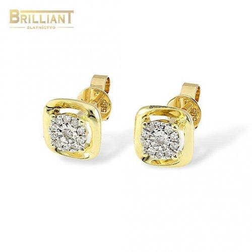 Diamantové Zlaté náušnice Au585/000 14k 22ks diam. 0,10ct.