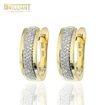 Diamantové Zlaté náušnice Au585/000 14k 96 diamantov 0,25ct.