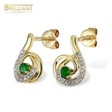 Diamantové Zlaté náušnice Au585/000 14k so smaragdami