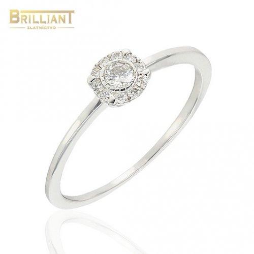 Diamantový Zlatý prsteň Au585/000 14k 11ks diamant. 0,14ct.