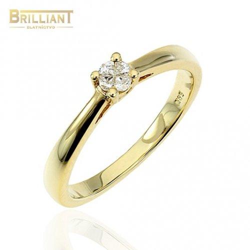 Diamantový Zlatý prsteň Au585/000 14k 4ks diamantov 0,10ct.