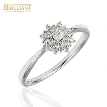 Diamantový Zlatý prsteň Au585/000 14k diamanty 25ks 0,25ct