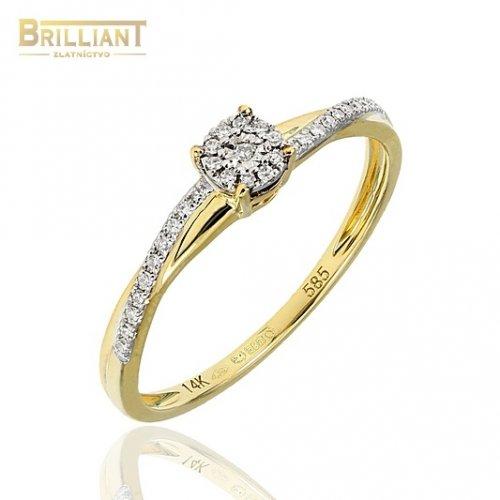 Diamantový Zlatý prsteň Au585/000 14k s 31ks diamant. 0,07ct