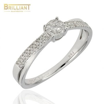 Diamantový Zlatý prsteň Au585/000 14k s 54diamantmi 0,19ct