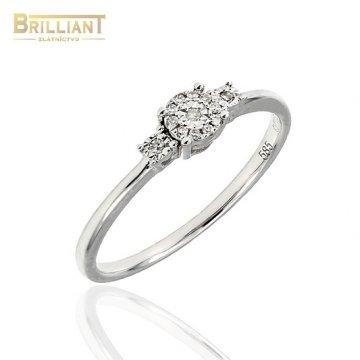 Diamantový Zlatý prsteň Au585/000 s 13ks diamantov 0,04ct