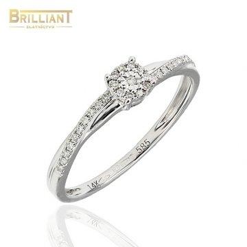 Diamantový Zlatý prsteň Au585/000 s 31ks diamantov 0,07ct.