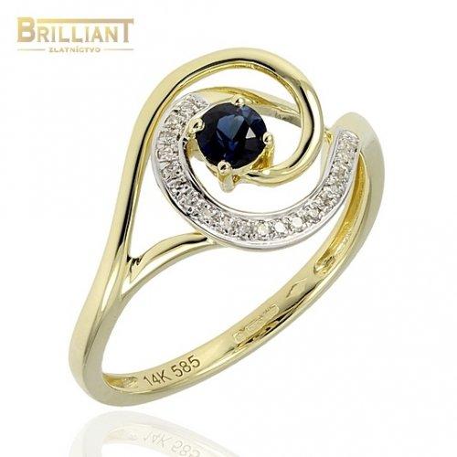 Diamantový Zlatý prsteň Au585/000 s dia. 0,05ct a zafírom
