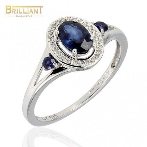 Diamantový Zlatý prsteň Au585/000 s diamantmi 0,09ct a zafír