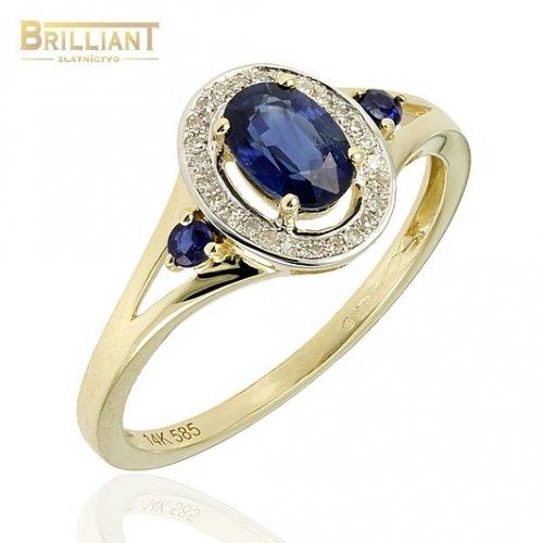 Diamantový Zlatý prsteň Au585/000 s diamantmi 0,09ct a zafir