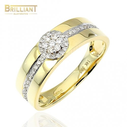 Diamantový zlatý Prsteň Au585/000 s diamantmi 0,23ct.