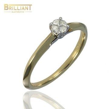 Diamantový zlatý Prsteň Au585/000 so 4 diamantmi 0,12ct.