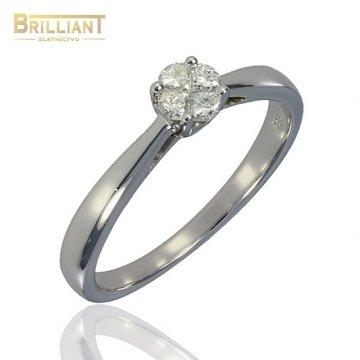 Diamantový zlatý Prsteň Au585/000 so 4 diamantmi 0,24ct.