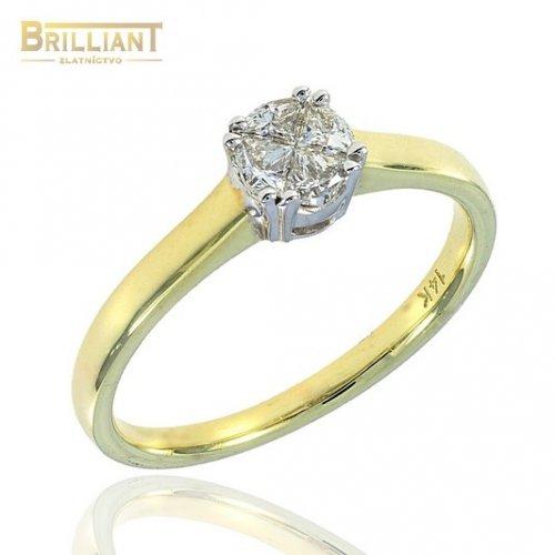 Diamantový zlatý Prsteň Au585/000 so 4 diamantmi 0,32ct.