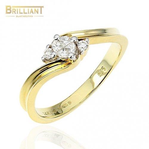 Diamantový zlatý Prsteň Au585/000 so 6 diamantmi 0,13ct.