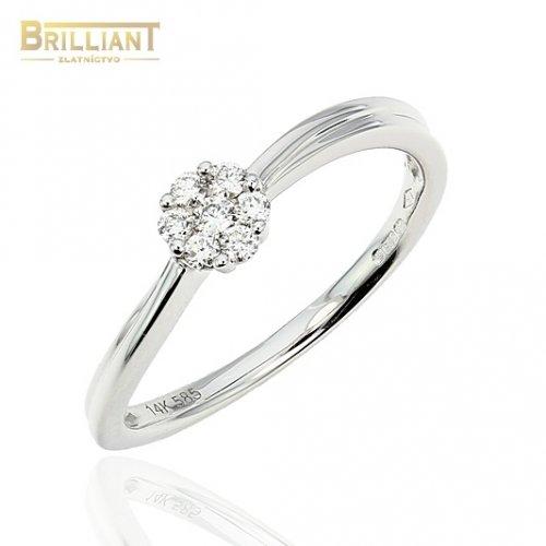 Diamantový zlatý Prsteň Au585/000 so 7 diamantmi 0,12ct.
