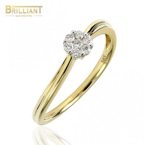Diamantový zlatý Prsteň Au585/000 so 7 diamantmi 0,13ct.