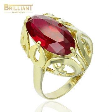 Strieborný prsteň Ag925 pozlátený s červeným kameňom