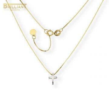 Zlatá retiazka Au585/000 14k kombinovaná s krížikom