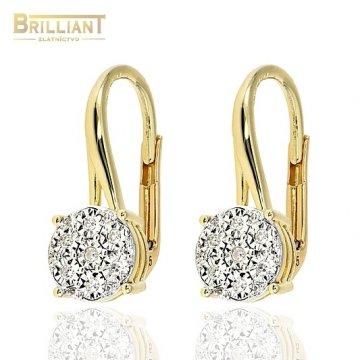 Zlaté Briliantové náušnice Au585/000 14k 26ks diam. 0,09ct