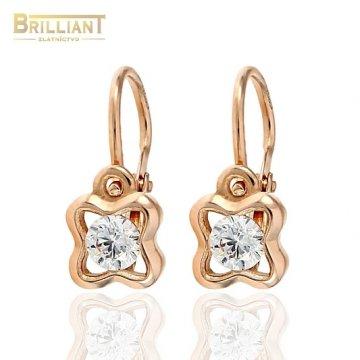 Zlaté Detské náušnice Au585/000 14k ružové zlato s kameňom