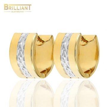 Zlaté náušnice Au585/000 14k otváracie krúžky kombinované