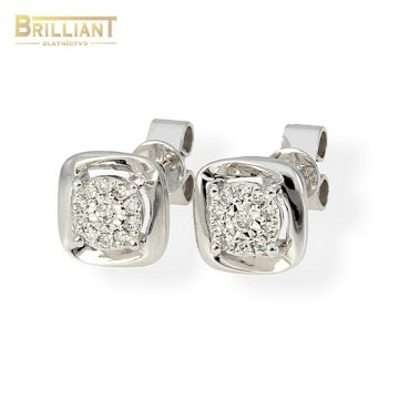 Zlaté náušnice Au585/000 14k s diamantmi 22ks 0,09ct.