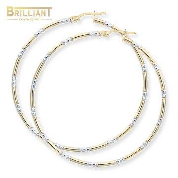 Zlaté Náušnice Au585/000 Kruhy Dvojfarebné