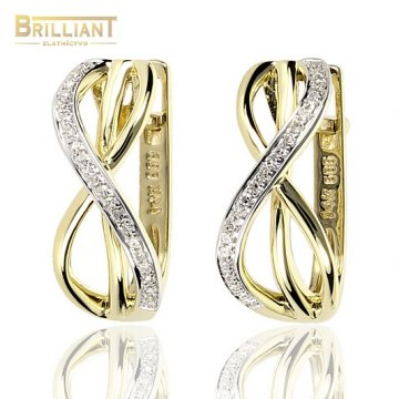 Zlaté Náušnice Au585/000 s Diamantmi 0,10ct 44ks