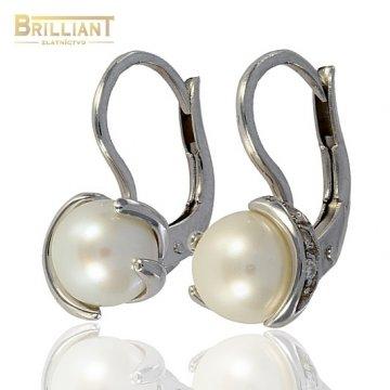 Zlaté Náušnice Au585/000 s perlou a zirkónmi