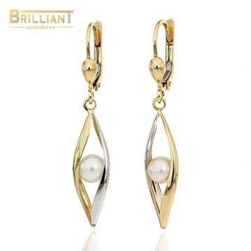 Zlaté visiace náušnice Au585/000 14k s perlou