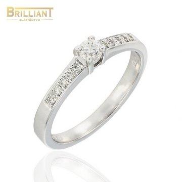 Zlatý Briliantový prsteň Au585/000 14k 11ks diamant. 0,225ct