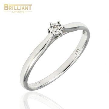 Zlatý Briliantový prsteň Au585/000 14k 1ks diam. 0,04ct.