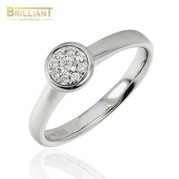 Zlatý Briliantový prsteň Au585/000 14k 9ks diamant. 0,11ct.