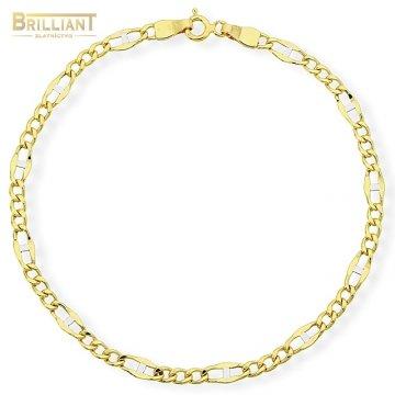 Zlatý náramok Au585/000 14k figaro kombinované