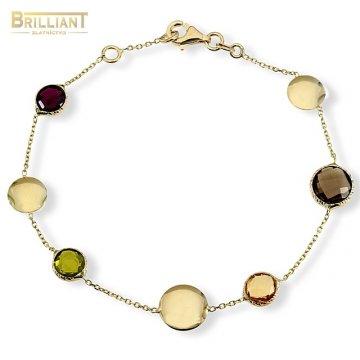 Zlatý náramok Au585/000 14k s farebnými kameňmi