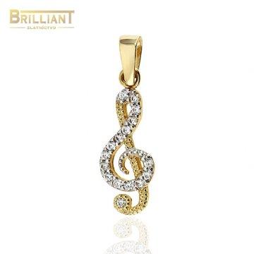 Zlatý prívesok Au585/000 14k husľový kľúč s kamienkami