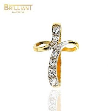 Zlatý prívesok Au585/000 14k krížik s kameňmi