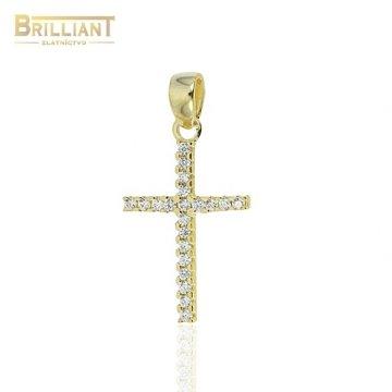 Zlatý prívesok Au585/000 14k krížik s kamienkami