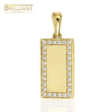 Zlatý prívesok Au585/000 14k platnička s kameňmi