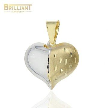 Zlatý prívesok Au585/000 14k srdiečko kombinované