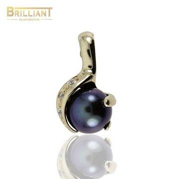 Zlatý Prívesok Au585/000 s tmavou perlou a zirkónmi