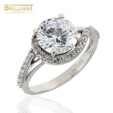 Zlatý prsteň Au585/000 14k biele zlato so zirkónmi