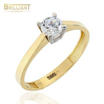 Zlatý prsteň Au585/000 14k dvojfarebný s kameňom