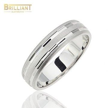 Zlatý prsteň Au585/000 14k Obrúčka Biele zlato