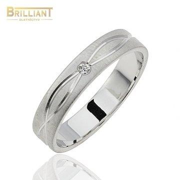 Zlatý prsteň Au585/000 14k Obrúčka z bieleho zlata