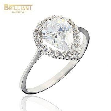 Zlatý prsteň Au585/000 14k slzička so zirkónmi biele zlato