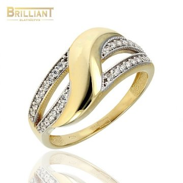 Zlatý prsteň Au585/000 14k so zirkónmi